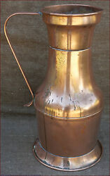 Large French Country Copper Water Jug Pitcher 1900