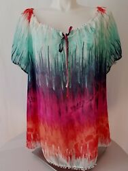 STUDIO top to shoulder for woman size 1X multicolor short sleeve $14.99
