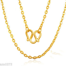 1.5mmw Authentic 999 24k Yellow Gold Necklace Charming O Link Lucky Chain32.2l