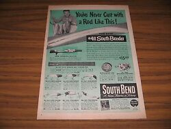 1947 Print Ad South Bend 411 Bender Fishing Rods Oreno Lures Indiana