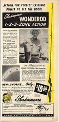 1950 Vintage Ad Shakespeare Wonderod Fishing Rods Fisherman And Trophy Bass