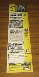 1951 Vintage Ad Shakespeare Wondereel Fishing Reels Automatic Spin Control