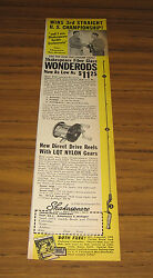 1951 Vintage Ad Shakespeare Wonderods Fishing And Direct Drive Reels