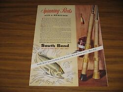 1954 Print Ad South Bend Fishing Rods And Reels Made In Indiana