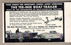 1954 Print Ad Tee-nee Boat Trailers Safest Operation Youngstownoh