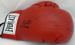 Boxing Greats Autographed Everlast Glove 3 Sigs Leonard Hearns Duran Psa 5a16196
