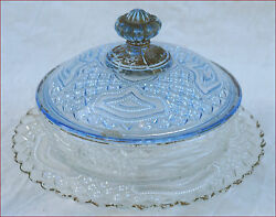 French Blue Clear Pressed Glass Lidded Butter Dish 1900