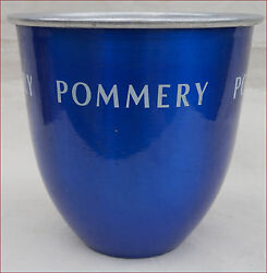 Vintage French Aluminum And Blue Champagne Ice Bucket Cooler Pommery