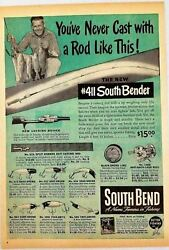 1947 Print Ad South Bend Fishing Rods And Oreno And Obite Lures Indiana