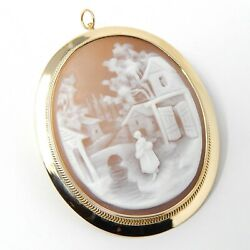 14 Kt Yellow Gold Village Scene Shell Cameo Pin / Brooch / Pendant A5350