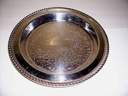 Vintage Epca Round Silver Plate Poole Silver Co Ornate Footed Tray