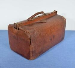 Antique French Leather Bag/satchel With A.p. Monogram Doctor's Bag