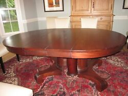Antique Mid-1800s Solid Red Mahogany Empire Table With Two Leaves