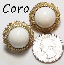 Vtg Signed Coro Clip Earrings 50s White Dome Cab W/gt Leaf Border Adjustable