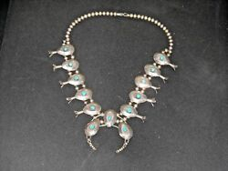 Vintage Navajo Squash Blossom Turquoise Sterling Silver Necklace Bench Beads 4.3