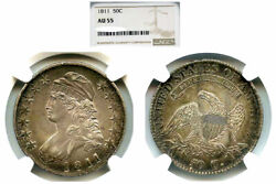 1811 50c Small 8 Au55 Ngc-capped Bust Halve---