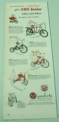 1953 Print Ad Amf Junior Tricycles And Bicycles Trikes And Bikes Hammond,in