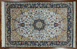 5' X 8' Super Authentic Signed Oriental Hand Knotted Silk Rug - SA2686