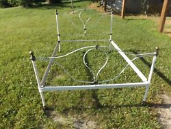 Antique Light Bulb Cast Iron Brass Bed Complete Frame Full / Queen Size