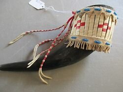 Plains Quilled Ceremonial Buffalo Horn, Native American Indian  Wy P-128