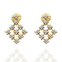 18ky Lace Snowflake Style Drop Earrings