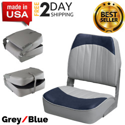 Navy Gray High Back Boat Seats Folding Seat For Fishing Pontoon And Bass Boats