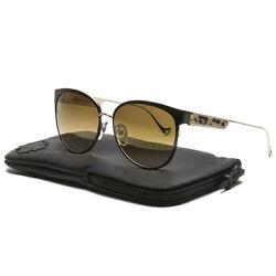 Chrome Hearts Blow Jay II Sunglasses Black Gold Plated Brown Gradient Lens