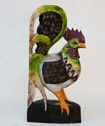 Rooster Chicken Carved Painted Wood Rustic Folk Art Country Farm Decor