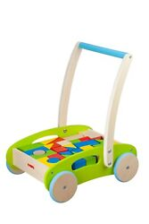 Toysters Wooden Baby Walker And Block Puzzle Push Cart   Wood Push And Pull Toy