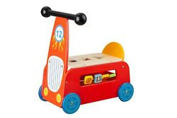 Toysters Wooden Hot Rod Baby Walker And Block Puzzle Push Cart   Push And Pull Toy
