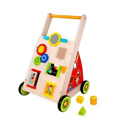 Toysters Wooden Baby Walker And Activity Center Push Cart   Wood Push And Pull Toy