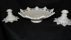 Westmoreland Glass Ring Petal Milk Glass Candlestick And Bowl Usa