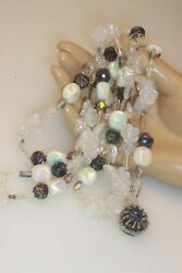 Vintage Double Strand 22 Molded Glass Flower Glass And Opalescent Bead Necklace
