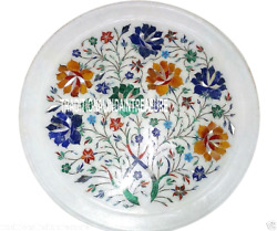 12 Marble Round Plate Marquetry Inlay Gems Floral Art Collectible Art Nice Gift