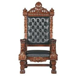 Design Toscano The Fitzjames Hand-Carved Solid Mahogany Throne Chair