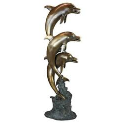 Design Toscano Triple Leaping Dolphins Cast Bronze Garden Statue