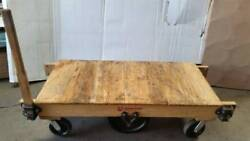 Antique Hamilton Wood And Iron Industrial Railroad Factory Cart Coffee Table Ohio