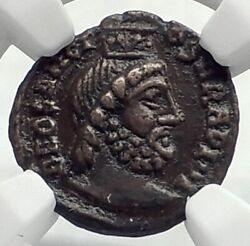 Ancient Roman Pagan Festival Of Isis Ancient Coin W Serapis And Nile Ngc I77381