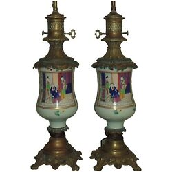 Pair 19th C Chinese Export Celadon Famille Rose Lamps Antique Porcelain And Bronze