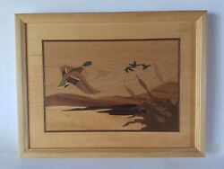 Hudson River Inlay Wood Marquetry Ducks In Flight 230 Jeff Nelson 9 3/4x12 3/4