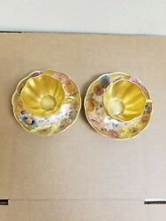Antique Royal Crown Derby Hand Painted Cups And Saucers