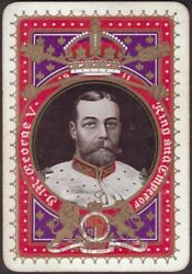 Playing Cards 1 Single Card Old Antique Wide King George V Coronation Royal Art