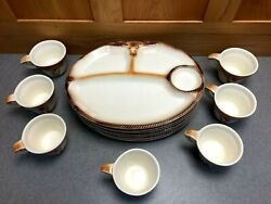 7 Vintage 1959 Lane And Co. Van Nuys Ca. Western Longhorn Cowboy Bbq Plates And Cups