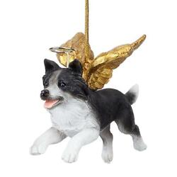 Design Toscano Honor the Pooch: Border Collie Holiday Dog Angel Ornament Coll...