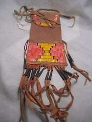 Plains Quilled Medicine Bag, Native American Indian Tobacco Pouch, Port-774
