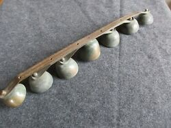 Vintage Horse Sleigh Bells, 7 Brass Bells On Shaft, Triple Clappers,  Day-02340