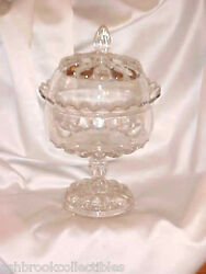 Westmoreland Glass Eapg Teardrop Crystal Round Wedding Covered Compote