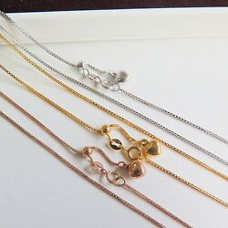 1pcs- New Pure 18k Gold Elegant Box Chain Woman Lucky Adjustable Necklace 35.4l