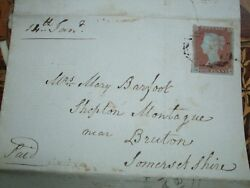 Victorian Official Canal Office Letter With A Penny Red Brown Stamp. R.h1848