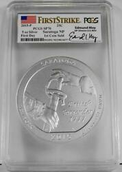 2015-p 25c 5 Oz. Silver Saratoga Np Pcgs Sp70 First Strike Rare 1st Coin Sold